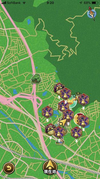ドラクエウォークダイエット実践49日目のマップ画面での強敵モンスターと助っ人の配置状況